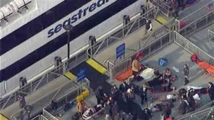 NYC Mayor, Police Commissioner View Ferry Scene