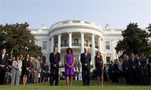 President Obama Leads White House in Moment of Silence