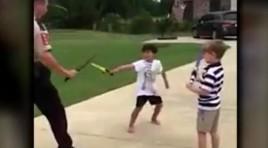 Video: Police Officer Sword Fights Children