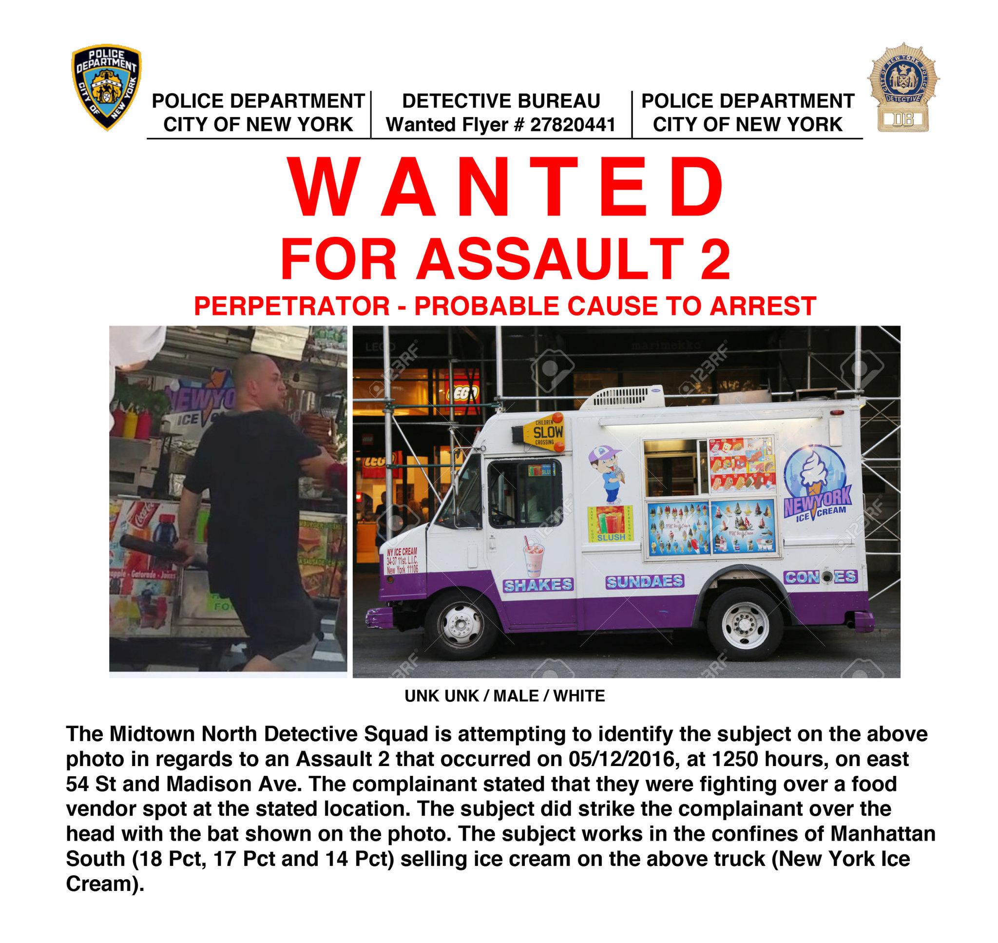 Ice Cream Man Attacked Midtown Pretzel Vendor With Bat
