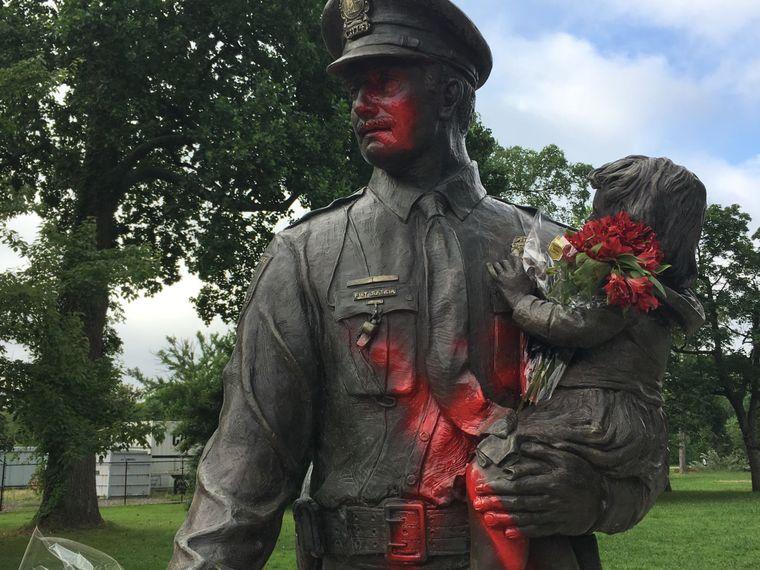 Police Memorial Vandalized In Name Of Alton Sterling