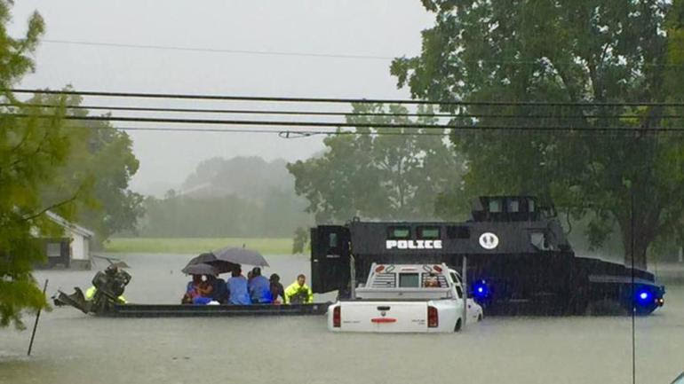 Armored Vehicles Helping In Louisiana Floods
