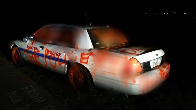Texas Police Car Vandalized