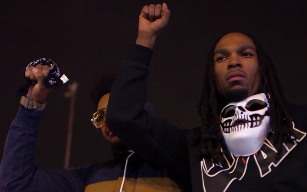 Activists Point At Police Over Death of Ferguson Protester
