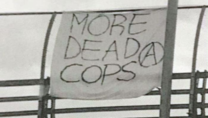 'More Dead Cops' Banner Hangs Over Freeway