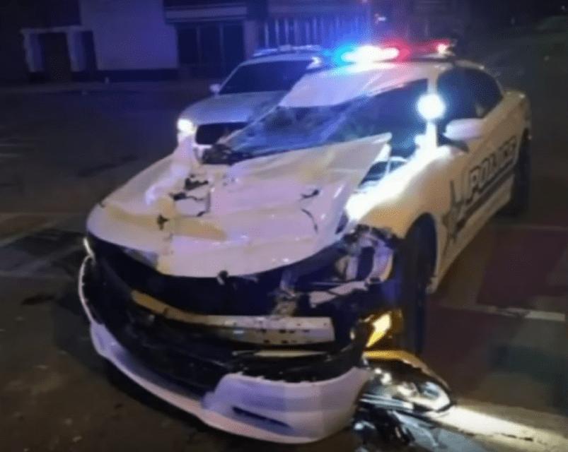 Watch Bulldozer Crush Police Car In Pursuit