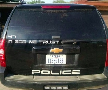 """In God We Trust"" New Police Car Motto"