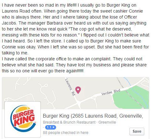 Burger King Investigates Employee Comment on Slain Officer