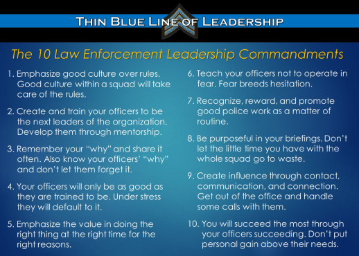 Law Enforcement Leadership Commandments
