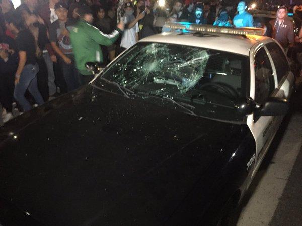 Anti-Trump Protestors Riot, Damage Police Car