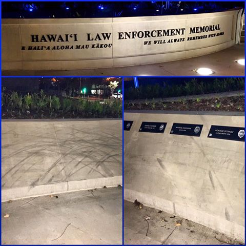 New Police Memorial In Hawaii Damaged By Vandals