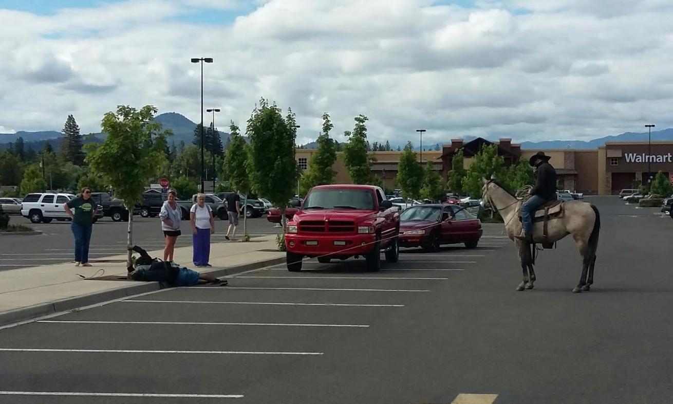 Rancher On Horseback Lassoed Bike Bandit At Walmart