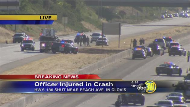 CHP Motor Officer Crashes, Has Major Injuries