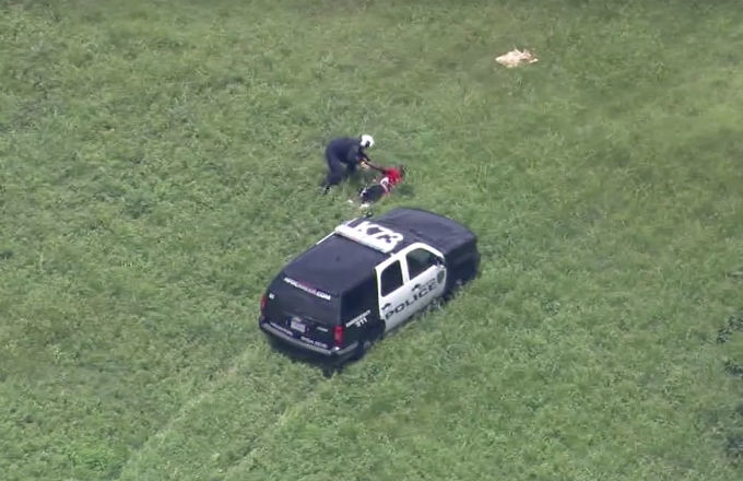 Amazing Video Shows Helicopter Pilot Chasing Down Suspect