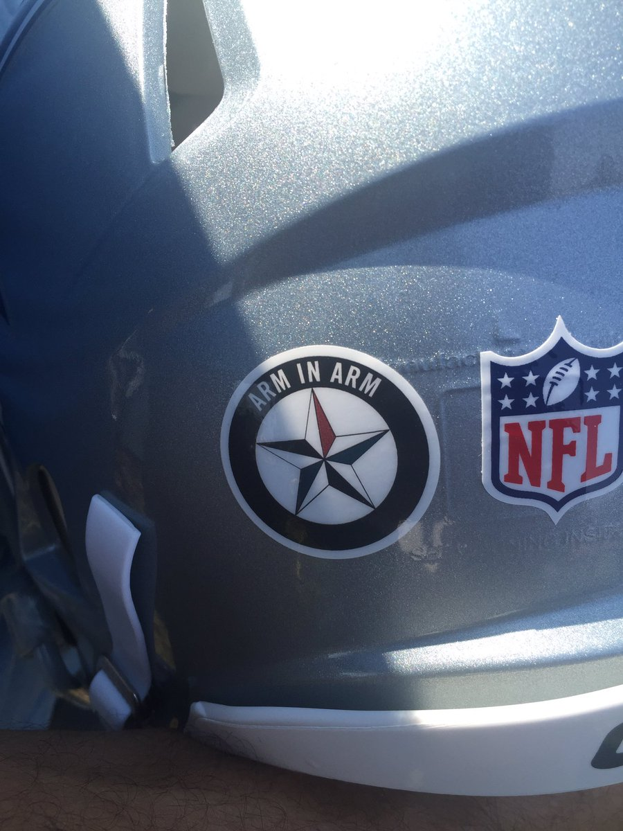Cowboys Wearing Helmet Sticker To Support Dallas Police