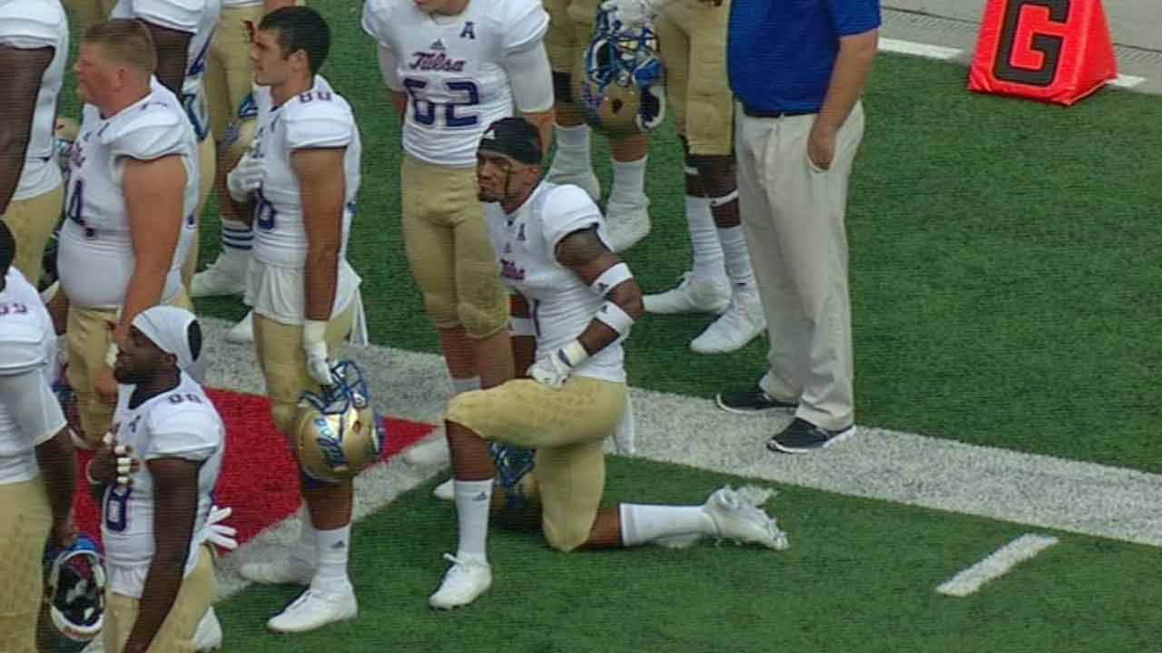 University of Tulsa Football Player Kneels During National Anthem