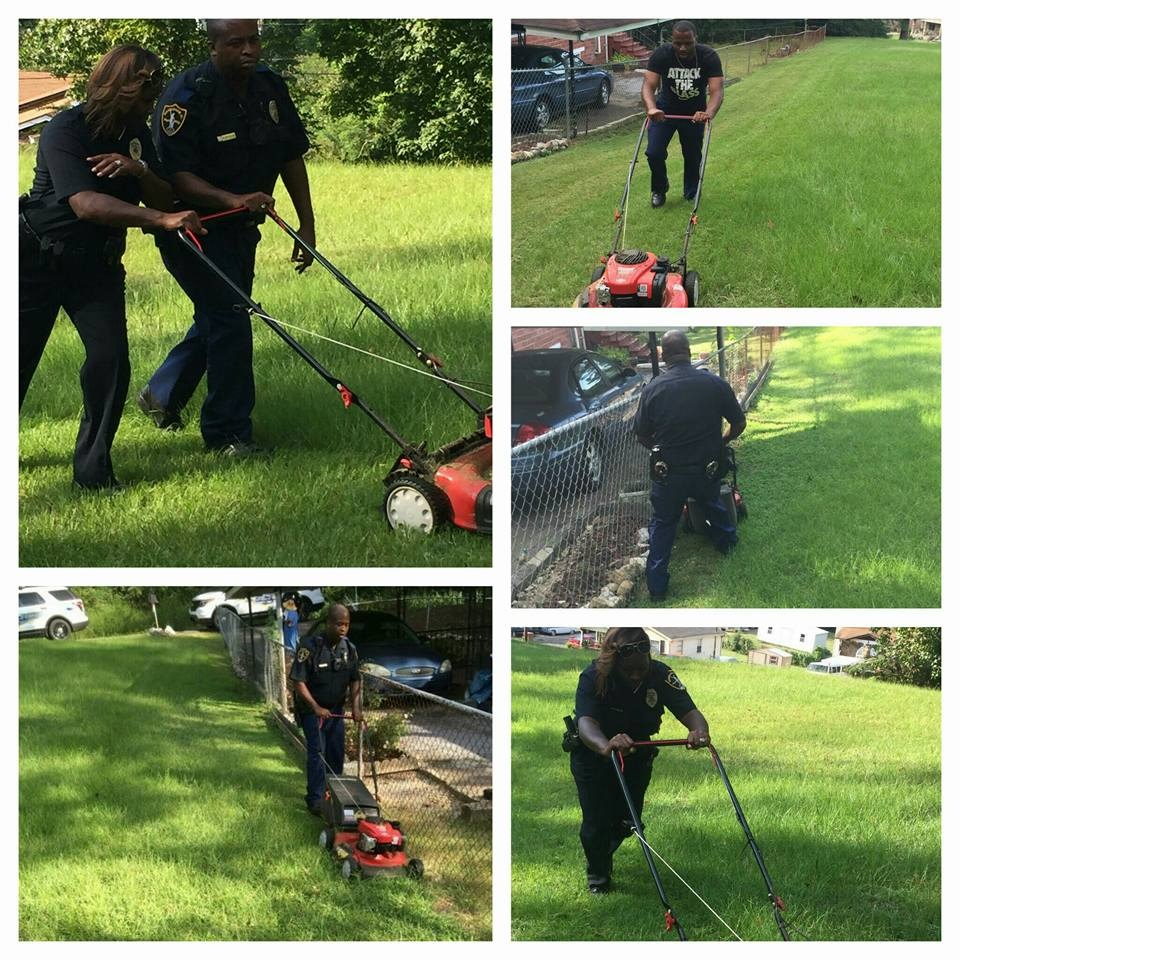 Police Officers Mow Lawn Of Elderly Woman