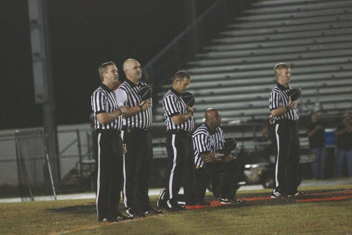 Football Official Kneels During National Anthem At High School Game
