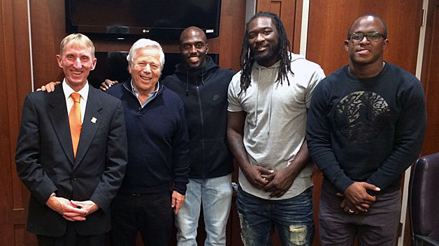 New England Patriot Players Go On Police Ride-Along