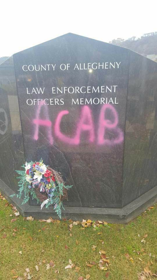 "Hero Hate: ""ACAB"" Graffiti Sprayed on Officers' Memorial"