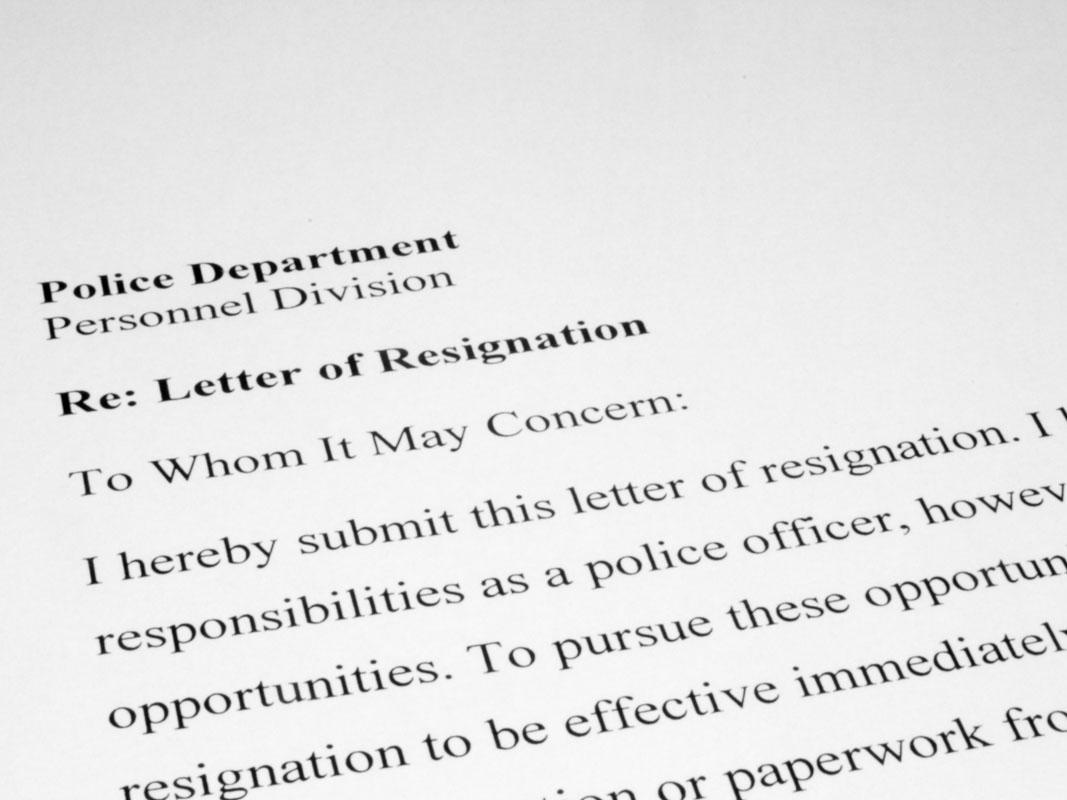 Police Officer Resignation Letter Law Officer