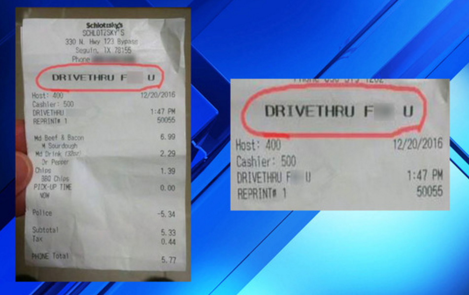 "Obscene Message On Deputy's Receipt Was ""Mistake"""