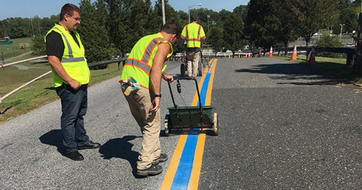 Maryland Town Paints Blue Line On Street To Honor Police