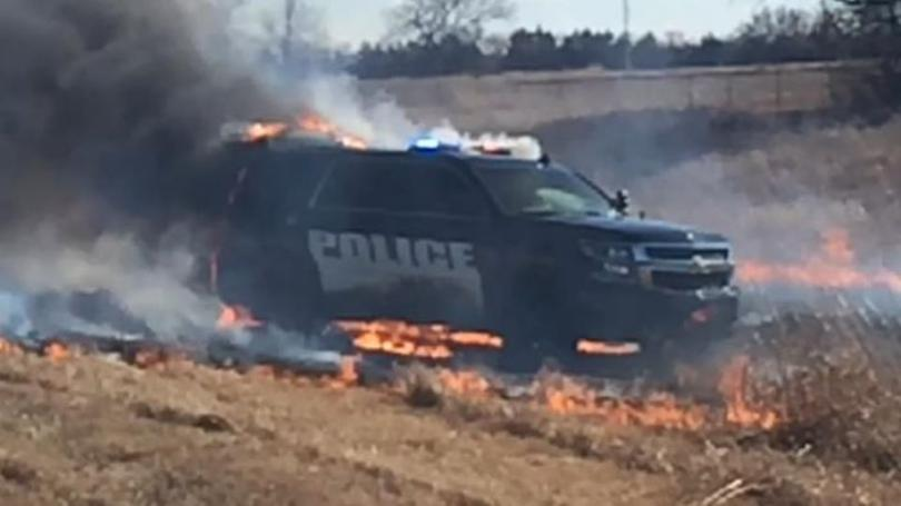 Patrol Car Catches Fire After Police Pursuit