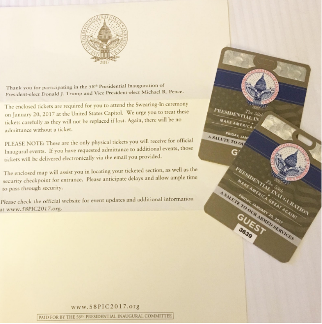 The invitation to the Inaugural Ball honoring First Responders.