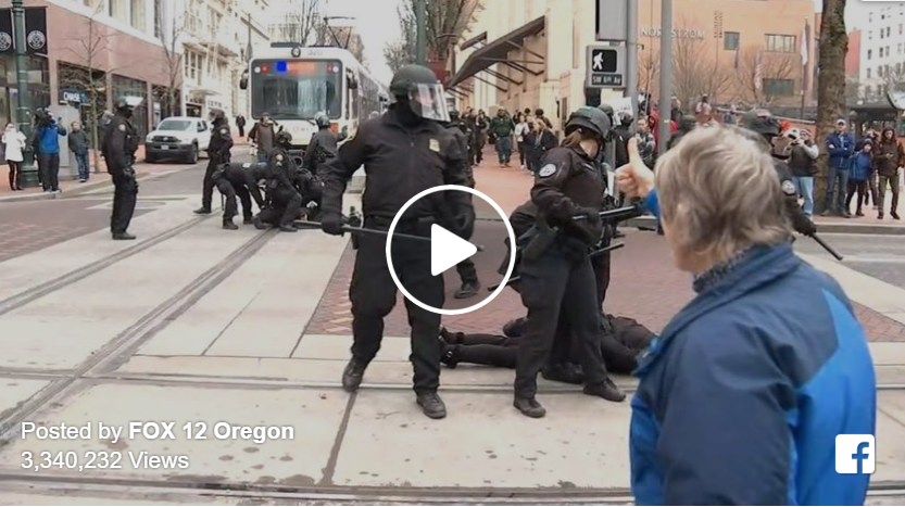 Video: Portland Police Get Applause After Taking Down Criminal Protesters Blocking Road