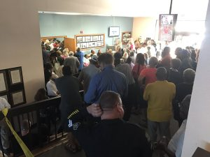 Residents pack into City Hall over comments by the Mayor. Photo Courtesy: @MeghanWPTV/Twitter