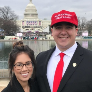Trooper Bradley and his wife during President Trump's Inauguration.