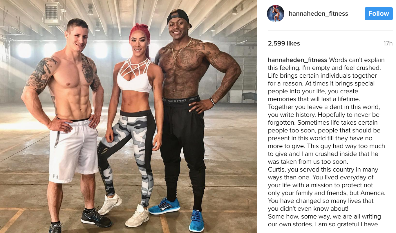 Deputy Bartlett (left) was a sponsored athlete and featured in a popular program at Bodybuilding.com. Athlete Hannah Eden left this message about him.