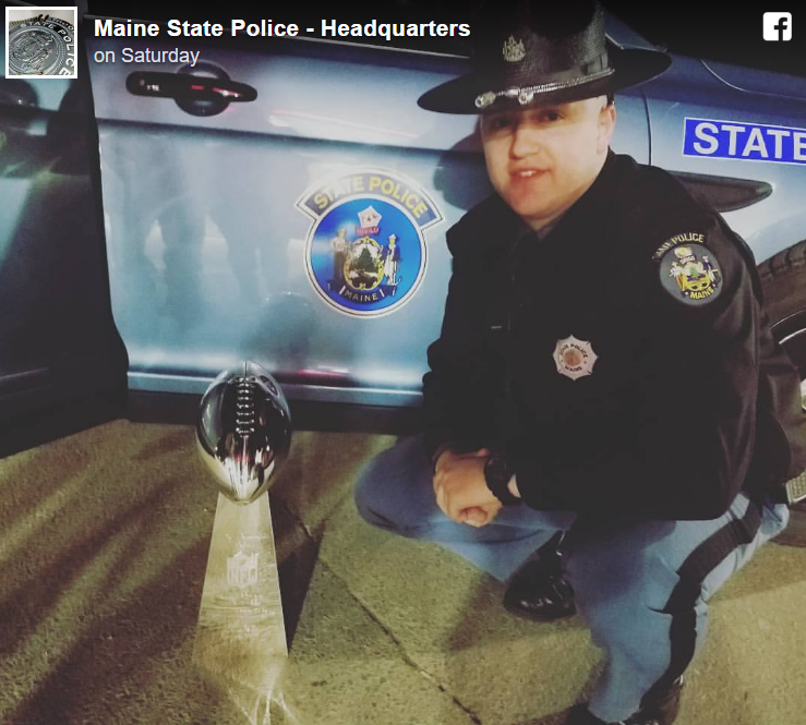 How The Patriots' Superbowl Trophy Ended Up In A Maine State Police Car