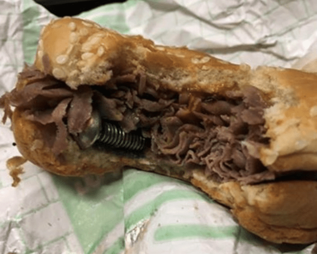 Police Sergeant Finds Bolt In Arbys Sandwich