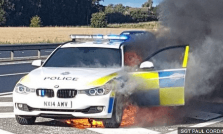 UK Police Car Catches On Fire In Response To Emergency Call