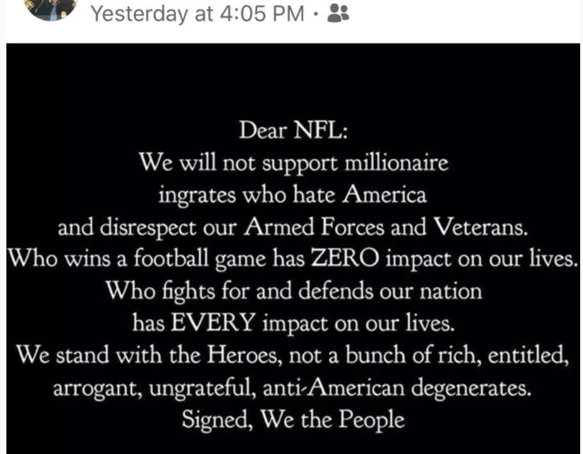 State Police Director's FB Post Calls NFL Players 'Degenerates' When They Kneel