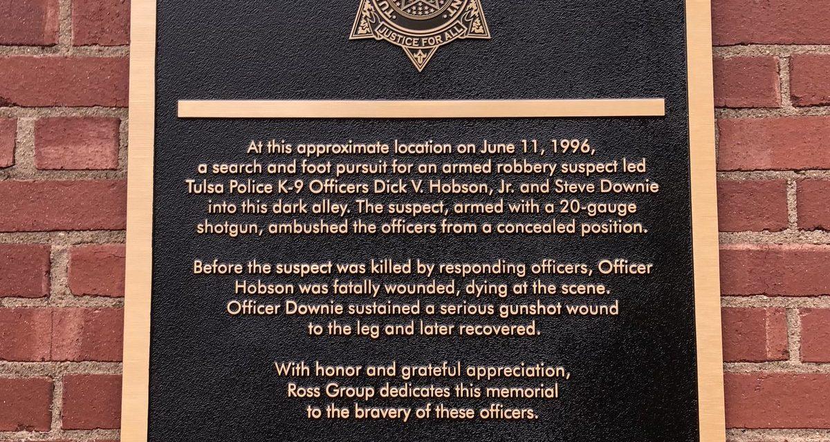 Plaque Dedicated To Fallen Tulsa Police Officer