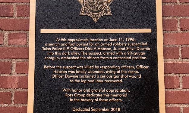 Plaque Dedicated To Fallen Tulsa Police Officer