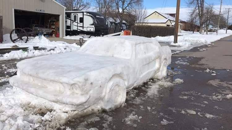 This Lifelike Ford Mustang Is Snow and A State Trooper Issued A Ticket