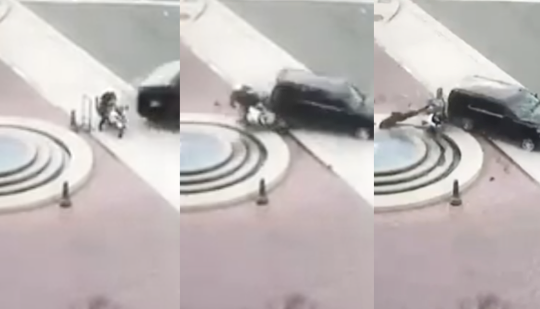 Stunning video shows LAPD motor officer struck by Inglewood mayor's SUV and thrown into fountain