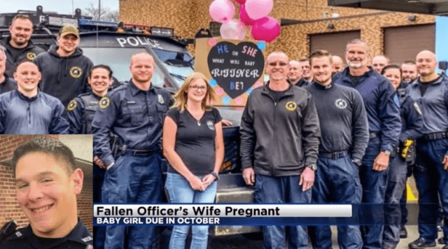 Widow of slain officer learns she is pregnant after husband's funeral