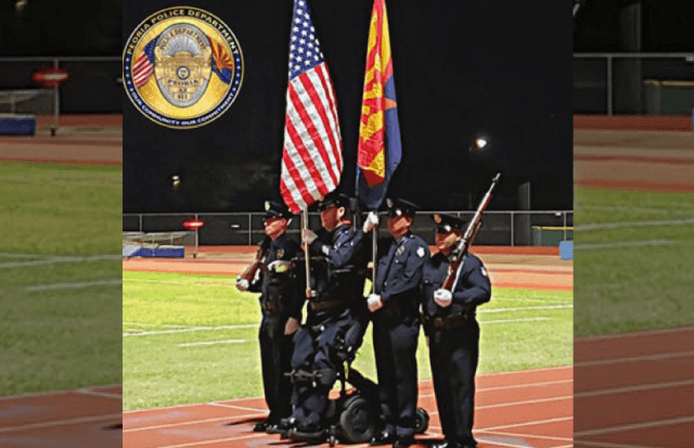 Paralyzed officer stands for first time in 14 years as member of color guard
