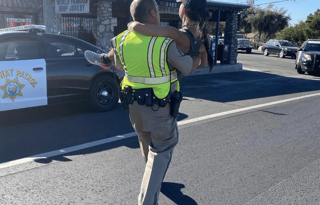 California Highway Patrol officer gets injured marathon runner to finish line